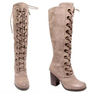 Coming soon lace up block heel boots